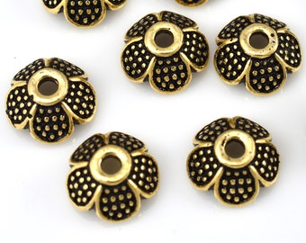 Gold bead caps, flower bead caps, gold plated Bali style caps for jewelry making, metal bead caps supplies 9mm - 10pc