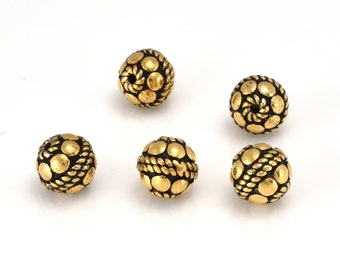 8mm Round Gold beads, Antique gold plated Bali spacer beads for jewelry making 5pcs