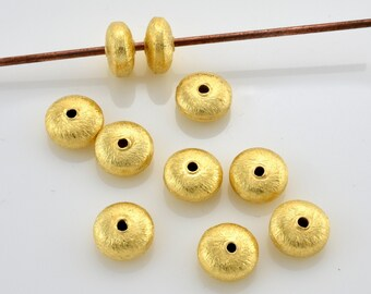 6mm - 16pcs Gold Vermeil Spacer Beads with curved edges, brushed Saucer beads, gold plated spacers made of solid 925 Sterling Silver beads