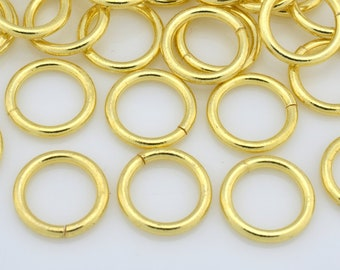 41 Gold Jump Rings - Saw Cut gold plated open handmade jumprings for chain mail bracelet chainmail or chainmaille, O rings - 16 Gauge- 9mm