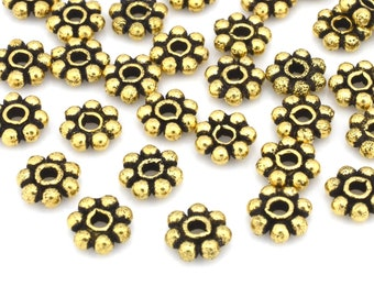 6mm Gold Plated Daisy Spacer beads for jewelry making, gold tone color flower spacers, Bali gold spacer Tibetan beads, 1.25mm hole, 36 pcs