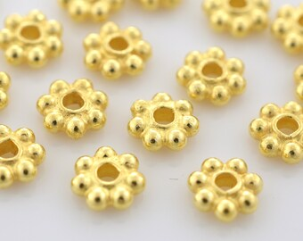 5mm - 28pcs Gold Vermeil Daisy Spacers, Heishi spacers, Bali Gold Spacer beads, flower spacers for jewelry making