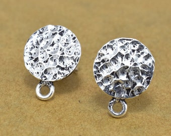 Silver plated ear stud post, antique finish earring making findings with sterling silver post 1 pair