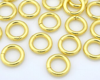 32 Gold Jump Rings Saw Cut handmade Gold plated Round open jumprings for chain mail bracelet chainmail or chainmaille O rings 15 Gauge - 8mm