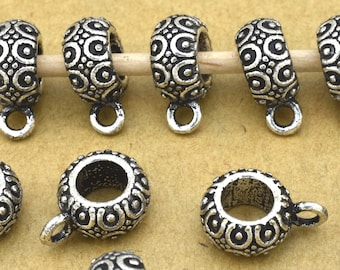 Silver Bails 10pcs Large Hole Silver Plated bails, charm bails, pendant bails, 4.5mm hole antique Bali Style kumihimo necklace charm holder