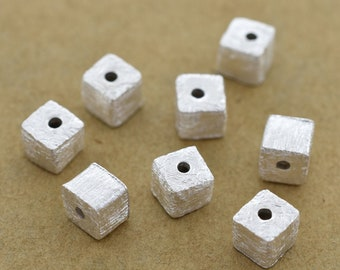 4mm -10pcs Cube Sterling Silver spacer beads, 925 Solid Silver handmade Box Spacer beads, Bulk beads