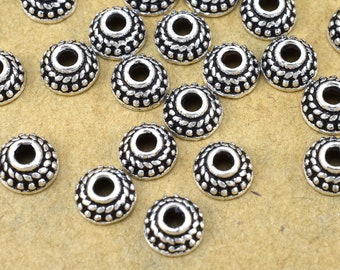6mm - 8pcs Sterling Silver Bead Caps, Solid Silver Bali Style tiny bead caps, antique silver beadcaps for jewelry making