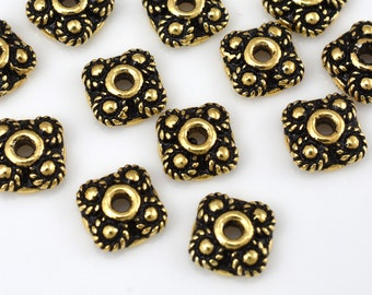 15 Gold bead caps, antique gold finish caps for jewelry making, Bali style 7mm