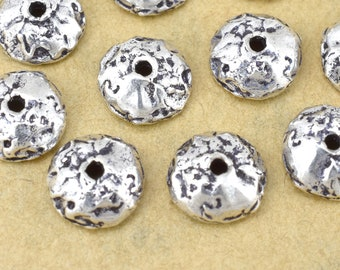 10mm - 2pcs Sterling Silver Bead Caps for jewelry making, Antique solid silver bead caps, 925 silver Artisan findings