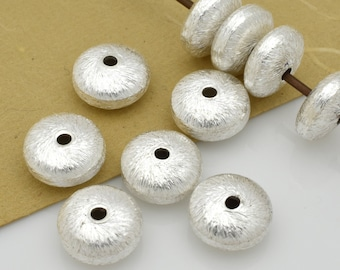 8mm Silver plated Saucer spacer Beads, Brushed finish button beads 10pcs