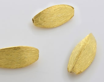 13mm - 4pcs Spindle shaped Gold Vermeil spacer beads -  Gold plated over solid Silver Brushed spacers for jewelry making