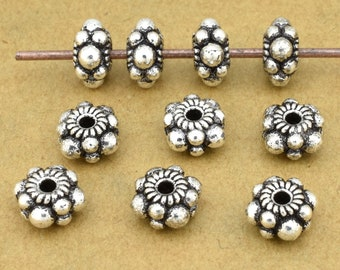 Bali silver Beads, Spacer beads 8mm Jewelry making antique silver plated Bali spacers 10pcs