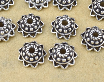 9mm - 4pcs Sterling Silver Bali Bead caps for jewelry making, Antique silver bead caps, 1.5mm hole