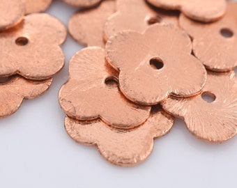 12mm - 20pcs Brushed shiny copper flat spacer beads for jewelry making