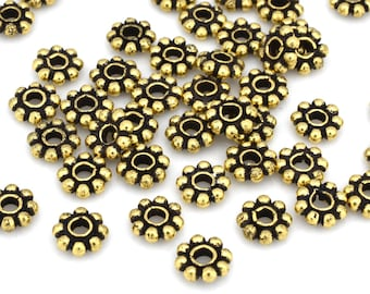 6mm - 44pc Gold plated Daisy spacer beads over solid copper, flower spacers, antique gold color tone Flat Bali Beads for jewelry making