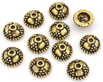 Gold Bead Caps 7mm for jewelry making, antique Gold plated Bali bead caps, tiny bead caps, Round bead caps 10pcs