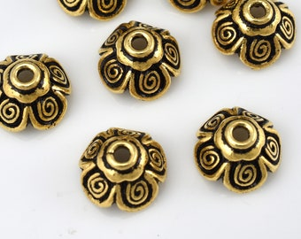 7 Gold bead caps for jewelry making, antique gold finish caps 10mm