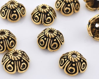 10mm - 10pc Gold bead caps, flower bead caps, gold plated Bali style caps for jewelry making, metal bead caps supplies