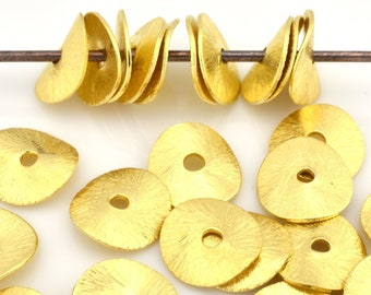 10mm - 10pcs Gold Vermeil wavy disc spacer beads, Brushed Potato Chips, gold plated disk spacers for jewelry making