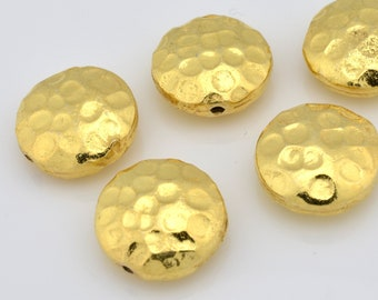 Gold Beads - hammered finish beads for jewelry making - saucer shape 5pcs - 12mm