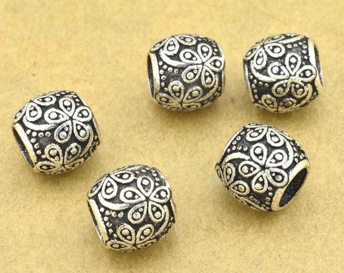 Featured listing image: 8mm -5pc Large Hole silver spacer beads, antique silver plated beads for jewelry making - Bali silver beads 4.5mm hole
