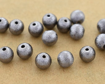 6mm - 20pcs gunmetal (Black) plated round ball beads for jewelry making, black spacer beads