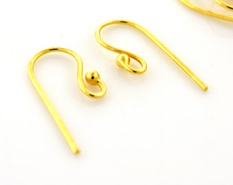 12mm - 20pcs Gold Vermeil Ear wires 21 gauge with ball, Gold plated over 925 Solid Silver handmade French Earwires for earring making