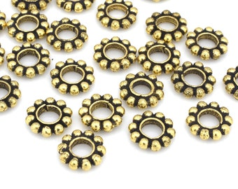 8mm Large gold daisy spacer beads, gold plated beaded heishi spacer beads for jewelry making, Gold color tone Bali beads, 3.5mm hole, 23pcs