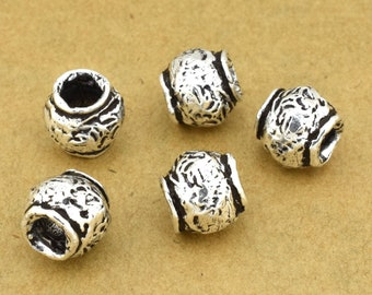 9mm -2pcs Sterling Silver Artisan handmade beads for jewelry making, artisan findings, antique silver spacers, organic - rustic silver beads