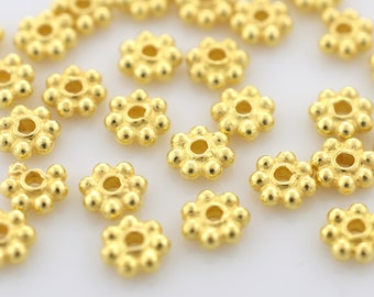 4mm - 50pcs Gold Vermeil Daisy Spacers, Heishi spacers, Bali Gold Spacer beads, flower spacers for jewelry making