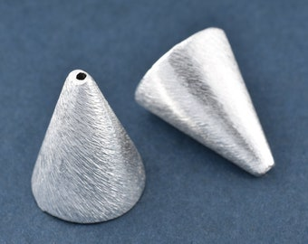 20mm tassel caps, tassel cone, silver plated End Cap cone silver bead caps, tall bead caps, large bead caps, kumihimo end caps cones 2pcs