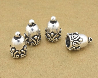 4 pcs -  12mm Silver plated end caps for jewelry making