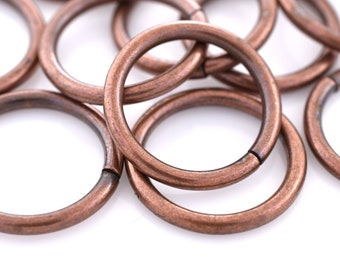 15mm - 12pcs Antique Copper open jump rings, Dark copper plated jump ring for jewelry making, large jumprings, 14 gauge