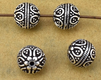 9mm - 2pcs Bali Sterling Silver beads, antique finish 925 Solid Silver spacer beads jewelry making findings