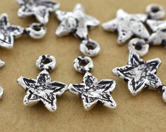 12mm - 10pc silver dangle charms, artisan charms, star charms for bracelets, celestial charms for jewelry making silver plated charms 10