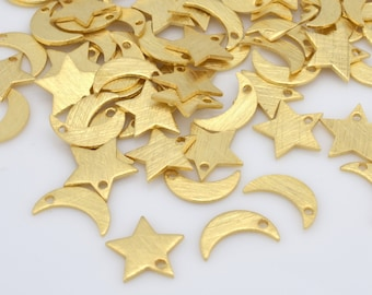 70pc Tiny Gold 9mm moon and 8mm stars with hole to dangle, 29 stars / 41 moon approximate, Gold plated with brushed finish