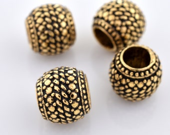 8mm -4pcs Large hole Gold Spacer Beads Bali Style Jewelry Making, Round Metal Beads, European Space Bead TIRE 4mm hole