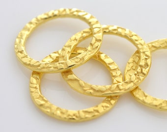 20mm - 4pcs Gold Vermeil Circles Washer Connector Links, Hammer finish findings, handmade jewelry supplies for jewelry making