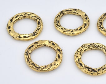 Gold Connector Rings Washers, Artisan organic links, gold plated washer Link charms, handmade gold jewelry making Circles 5pcs - 16mm