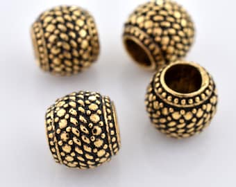 8mm - 4pc Large hole Gold Spacer Beads Bali Style Jewelry Making, Round Metal Beads, European Spacer Bead TIRE 4mm hole