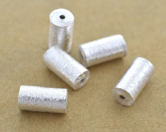 10mm -5pcs Cylinder Sterling Silver Spacer Beads, 925 Solid Silver handmade Barrel / Drum beads, Bulk beads
