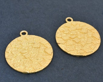 23mm Gold Flat Disc shape Earring connector, Gold Plated Earring Component, earring parts, dangle earring making 1 set