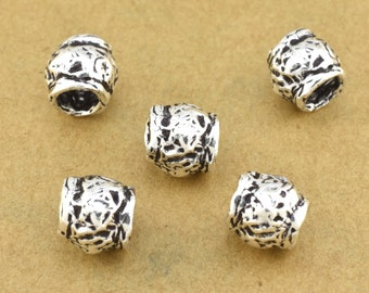 7mm - 2pcs Sterling Silver Artisan Beads, antique silver spacers for jewelry making, organic silver findings rustic beads, 3.5mm hole