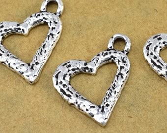 Silver Heart Charms Pendant 24x20mm - 2 pieces
