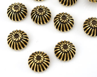10 antique gold plated bead caps, Bali style caps for jewelry making 8mm