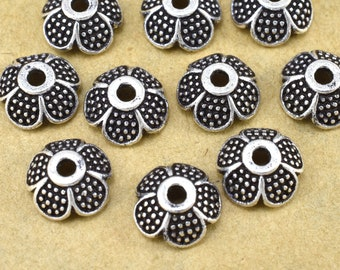 Silver Bead Caps, flower bead caps, Pewter Bead caps, Antique Silver plated Bali style jewelry making, metal bead caps supplies 9mm - 10pc
