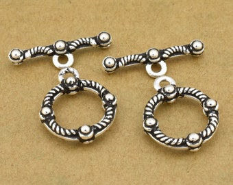 925 Sterling Silver Toggle clasps for jewelry making, Bali Style Antique Silver Clasps for bracelets and necklaces 14mm