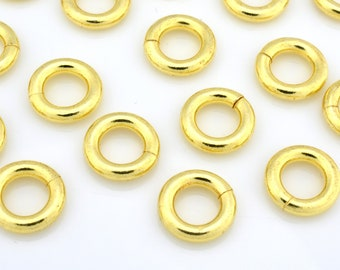 Gold Jump Rings for Chain Mail jewelry, Saw Cut gold plated Jumprings - Round links and connectors chainmaille - 16pcs - 12 Gauge - 9mm