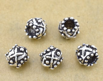 8mm silver spacer beads, large hole silver plated beads 5pcs