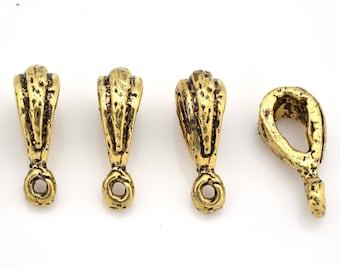 Pendant Bails artisan charm holder flower bails, Gold Bails Necklace Bails dangle Bails, jewelry making bails, 4 pieces